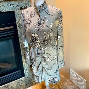 NWT AX Paris grey floral ruched dress size 12